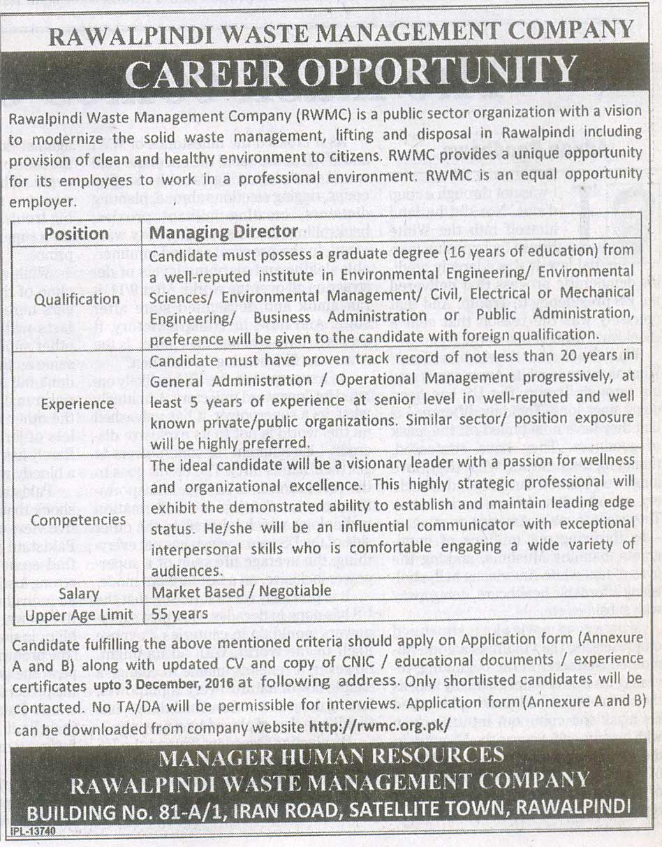 Career Opportunity At Rawalpindi Waste Management Company