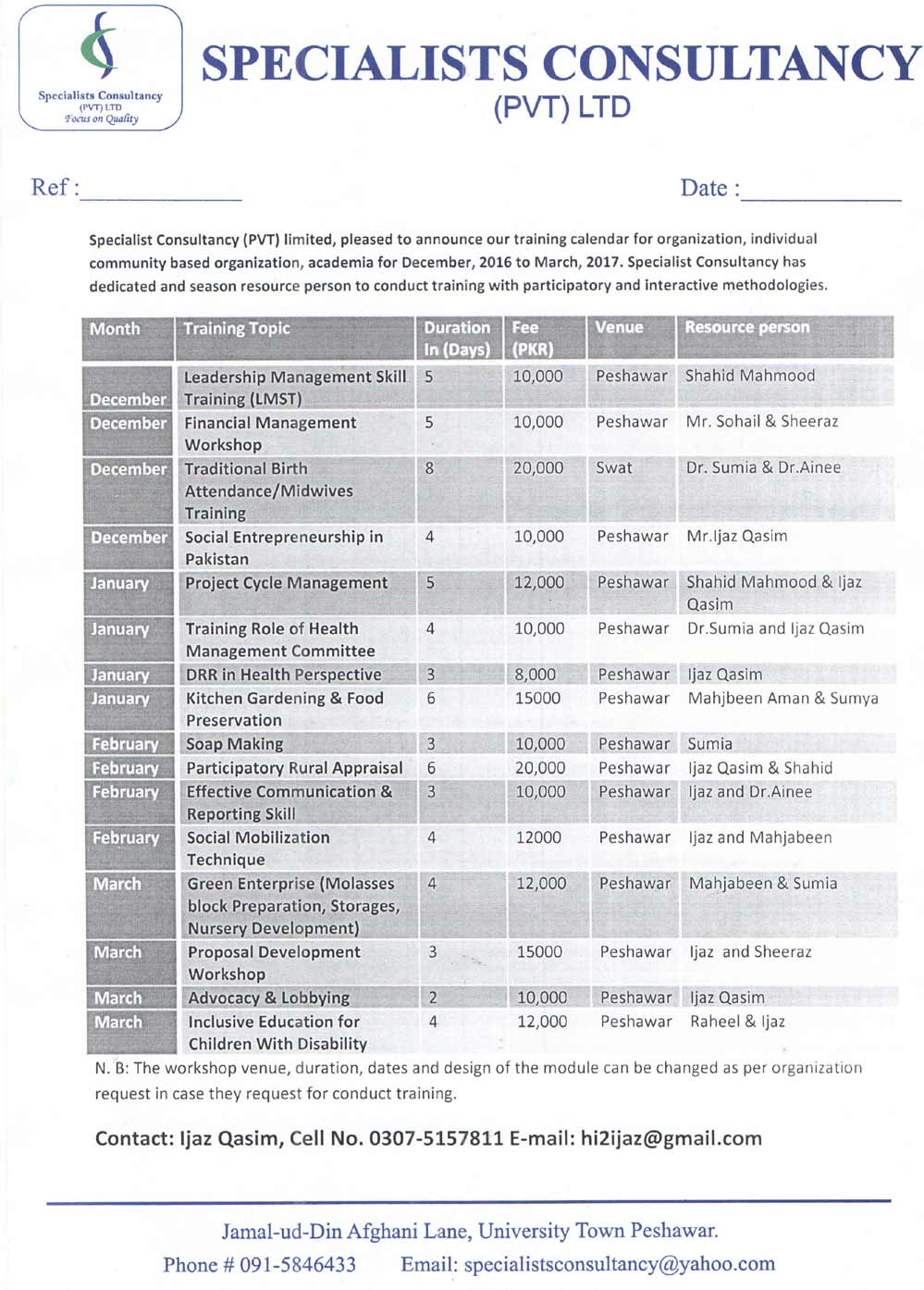 Organization Training Calendar : Training calendar for organization individual community